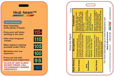 Heat Aware's Heat Cards - HATS-20A | The signs, symptoms and treatment of heat illnesses