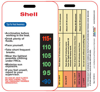 Heat Aware's Heat Cards | HATSC-30: The Custom Twic Sized Card | Keep workers safe from a heat-related illness
