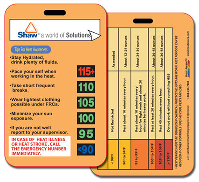 Heat Aware's Heat Cards - HATS40 | Avoid heat-related illnesses for workers